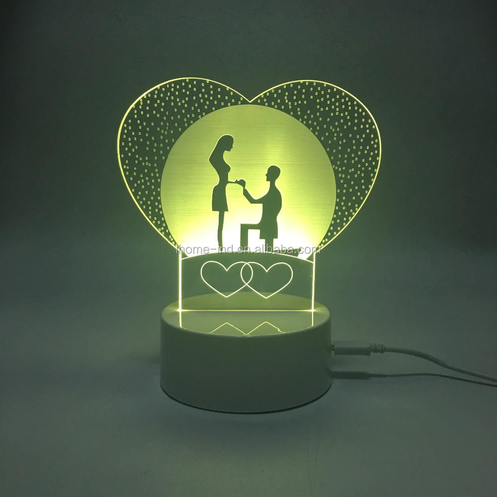 fabricação luzes da noite de fantasia amor do coração de acrílico levou luzes da noite doce conduziu a lâmpada