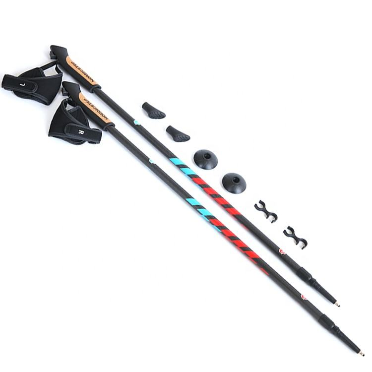 2-section Cork Handle 3K Carbon Fiber Retractable Telescopic Hiking Sticks Nordic Walking Pole