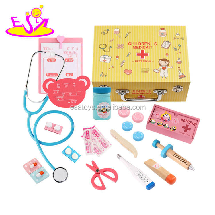 New hottest play first aid toy wooden kids doctor kit with medicine W10D158