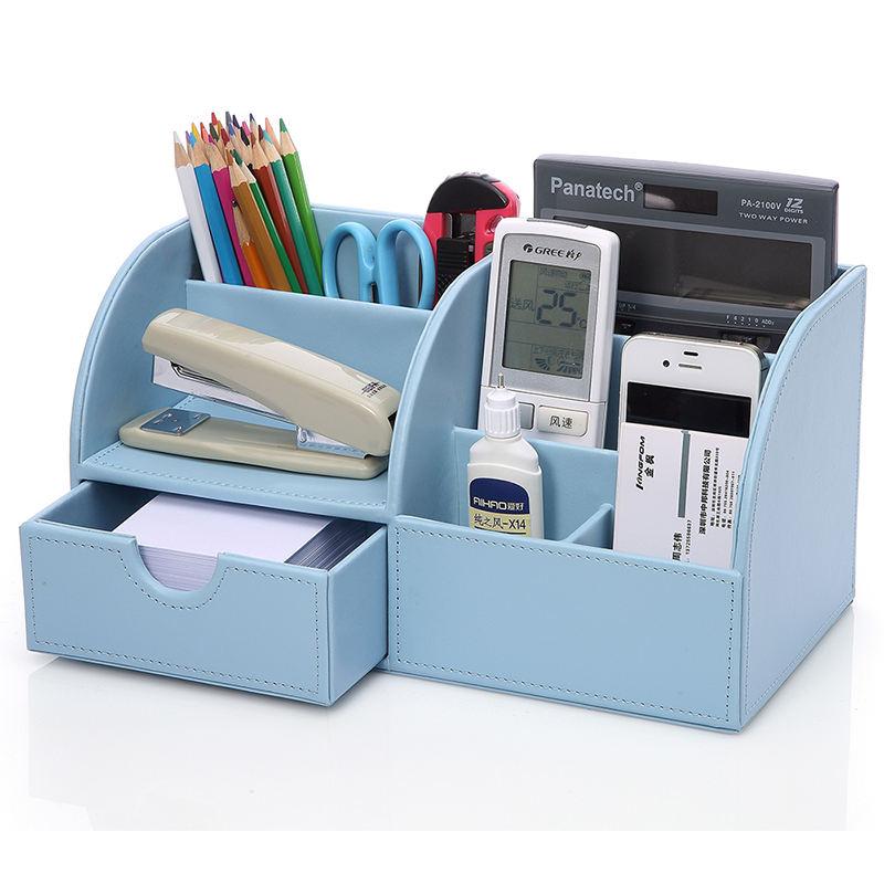 Cuoio DELL'UNITÀ di elaborazione Desk Organizer <span class=keywords><strong>In</strong></span> <span class=keywords><strong>Pelle</strong></span> Supporto Della Penna Multifunzionale Blu
