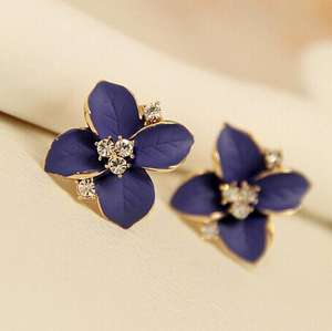 Wholesale Fashion Elegant Cute Girls Crystal Gold Plating Clover Flower Clip-on Earring For Girl
