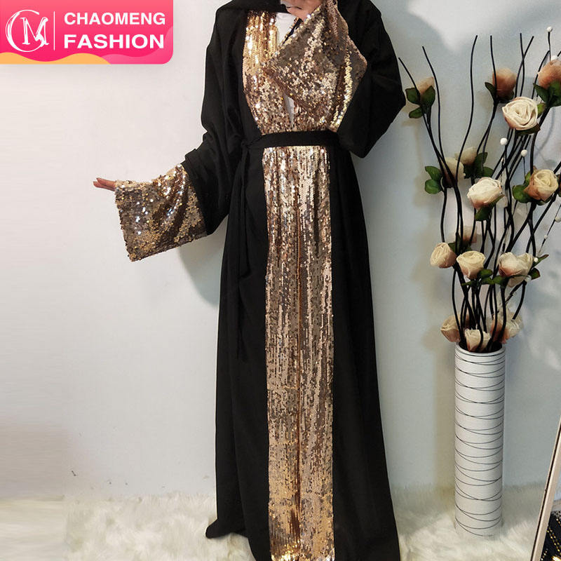1681# Muslim modest wear with beads sequins abaya dubai luxury for muslimah clothing