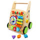 2019 China Factory Wooden Baby Learning Walker Toddler Toys 1 Year Old Blocks, Cheap Price High Quality Roll Cart Push Pull Toy