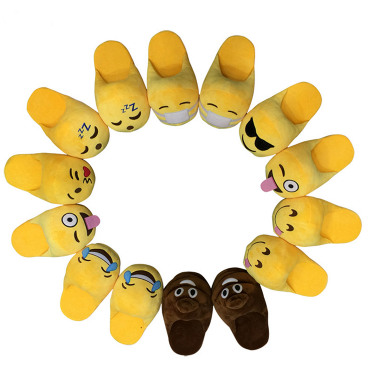 Women Gender and EVA Outsole Material Womens Girls whats app Emoji Smiley Plush Slipper