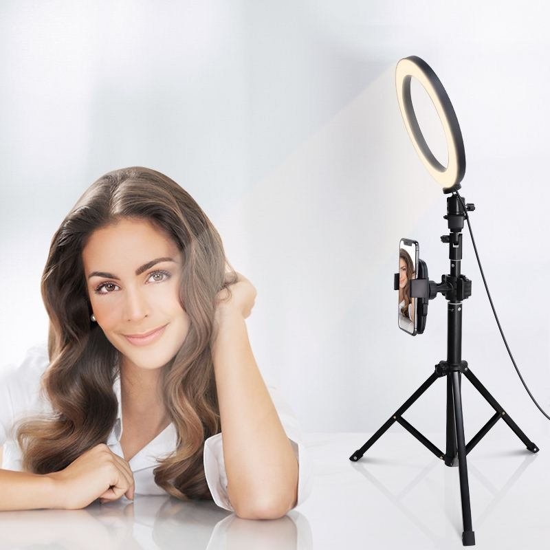 10 inch Self Timer Ring Light with Mobile Phone Bracket and Tripod Multi Function Led Cosmetic Ring Light
