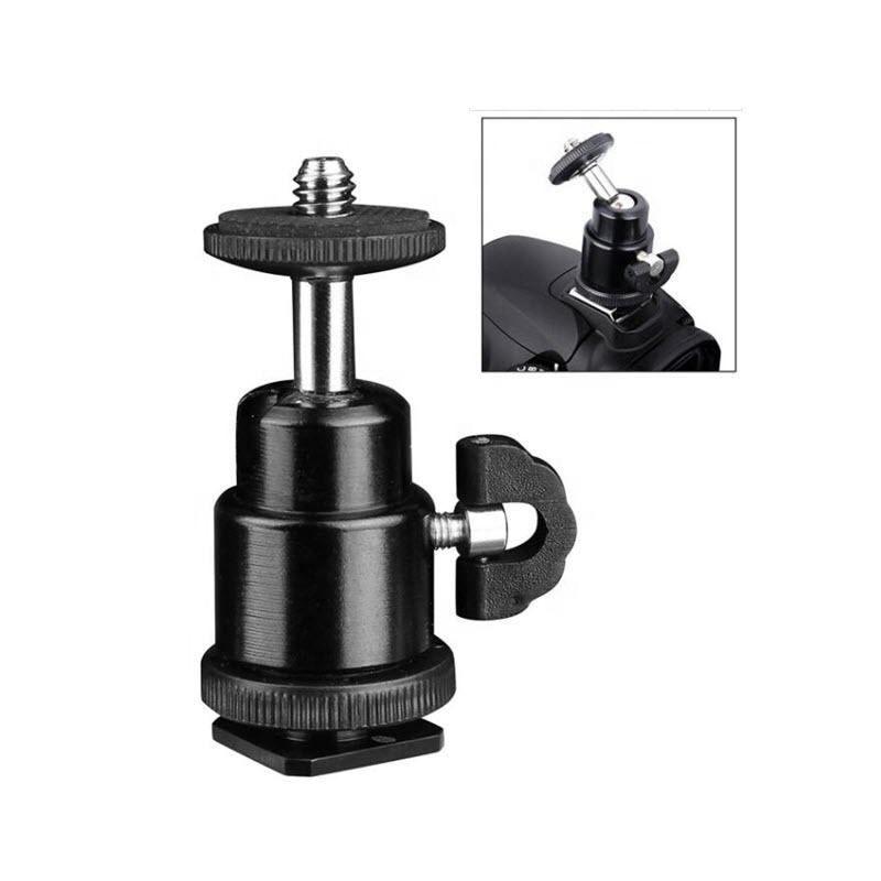 Aluminium Bal Hoofd Mount Universele 360 Graden Swivel Rotating Mini Statief Mount Adapter Hoofd Pivot Arm met Hot Shoe
