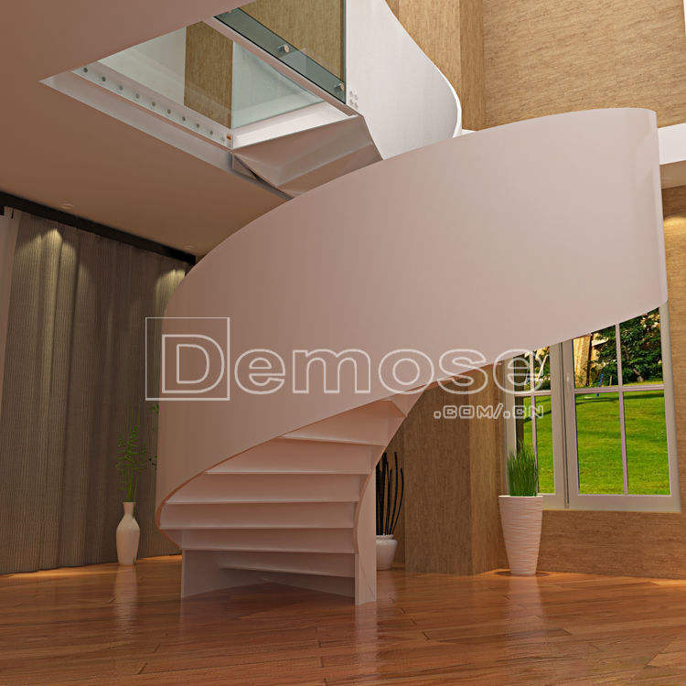 stainless steel rod glass round stairs/staircase