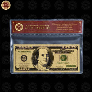 Colored America 24K gold foil Banknote bills 100 USD Souvenir Free COA Frame