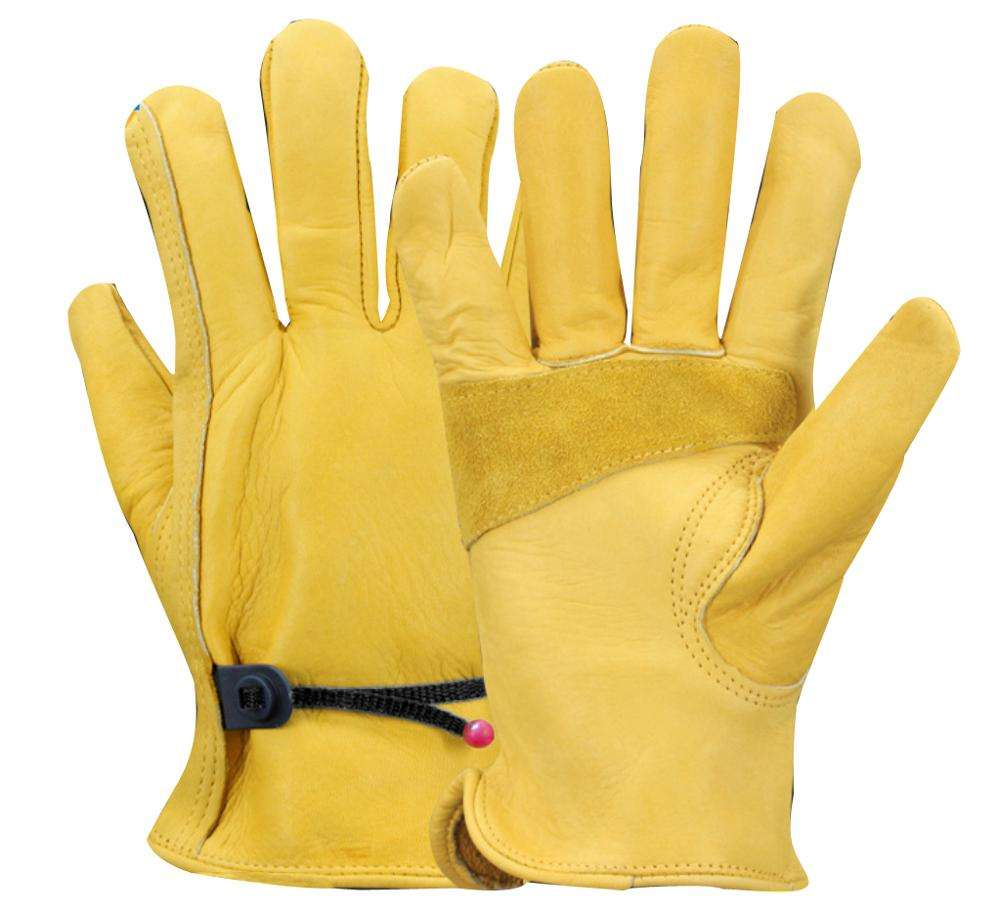 China Premium Heavy Duty Reinforced Palm Anti Slip Cut Resistant Cowhide Leather Protective Safety Working Gloves