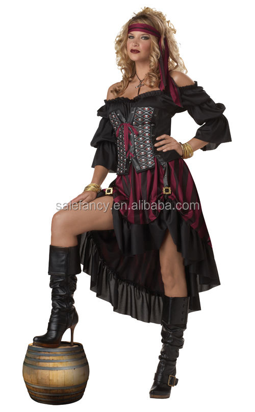 Più il Formato Pirate Wench Adulti Delle Donne Sexy Rinascimento Lungo Gypsy Gonne dress Costume di Halloween QAWC-2113
