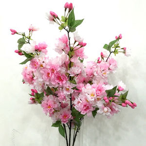 Wedding artificial flower 4 fork Japanese cherry blossoms flower buds with leaves pear flower arches cherry blossom wholesale