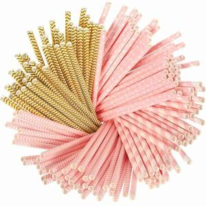 Wedding Decoration Biodegradable Pink And Gold Striped Paper Straws