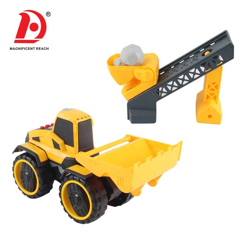 HUADA 2020 Construction Car Mini Inertial Toy Forklift Truck with Material Delivery Tool & Sound & Light