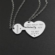 Stainless steel key heart shape laser engrave silver color meaning eternal love couples pendants necklace jewelry for couples