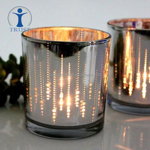 whosale home wedding decoration High Quality New Design machine made electroplate glass candle jar