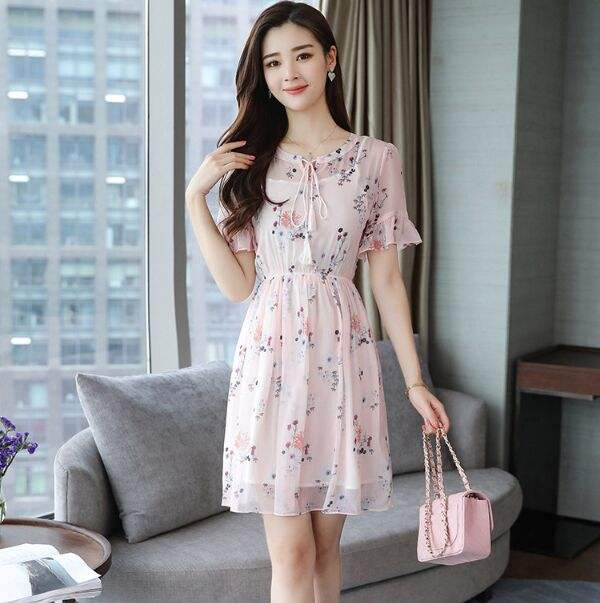 Girls Sweet Style Floral Print Chiffon A Line Women V Neck Butterfly Sleeve Summer Dress