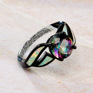 Glass & Opal Gemstone Finger Ring for Women 925 Sterling Silver Jewelry