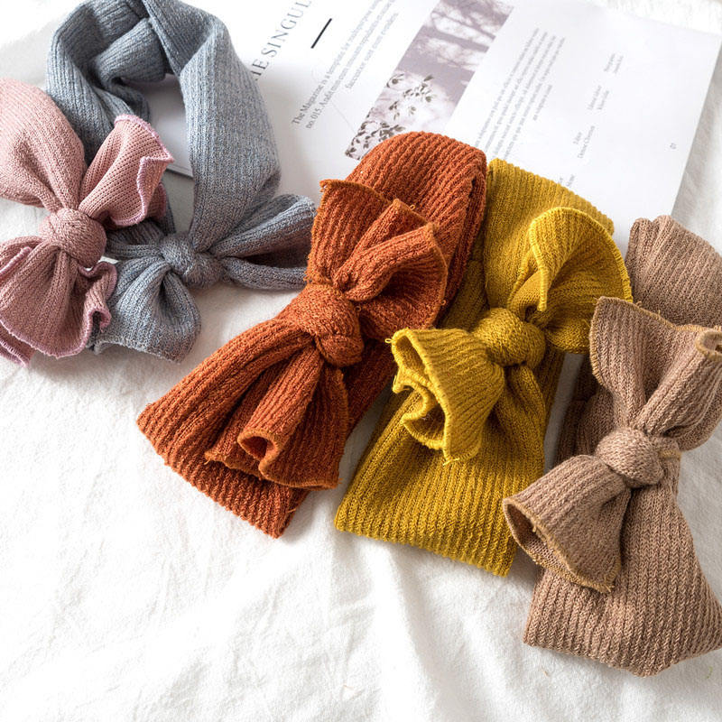 Baby Girl Headbands Knitted Newborn Baby Bows Headband Cute Turban Head Warm head band Infant Toddler Hair band baby Accessories