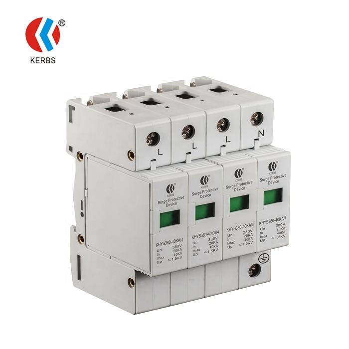 Electrical Equipment SPD 380V 40KA 4 Poles Surge Suppressor AC Surge Protective Device