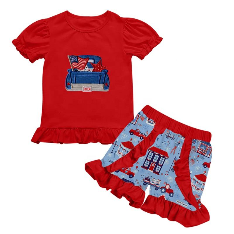 2019 High quality customized outfit toddler girls holiday 4th of july clothing set boutique children clothing sets