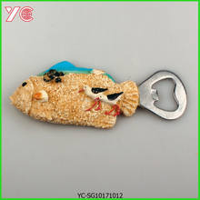 YC-SG-10171012 3D Resin Wholesale Open Beer Bottle with Fridge Magnet