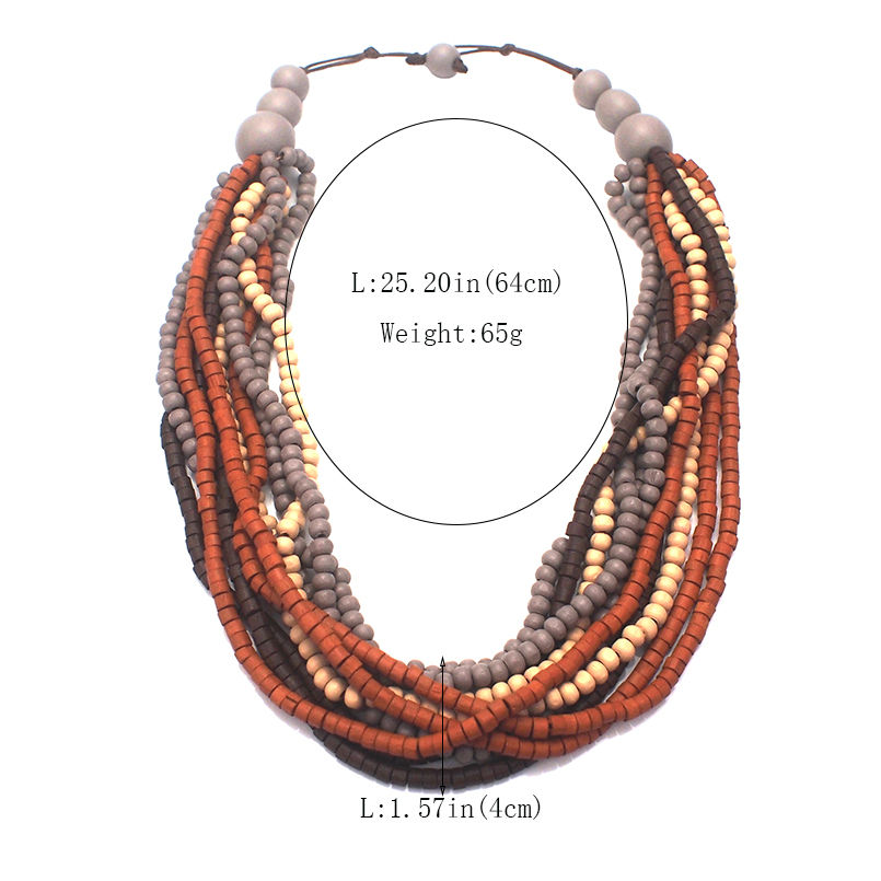 Bohemia Multilayer Wood Beaded Necklace Woman Fashion Handmade Multicolor Beads Statement Chokers Necklace Jewelry