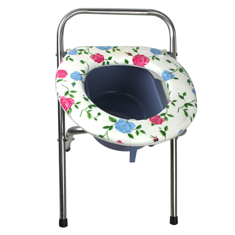 Lightweight portable stainless steel folding commode stool