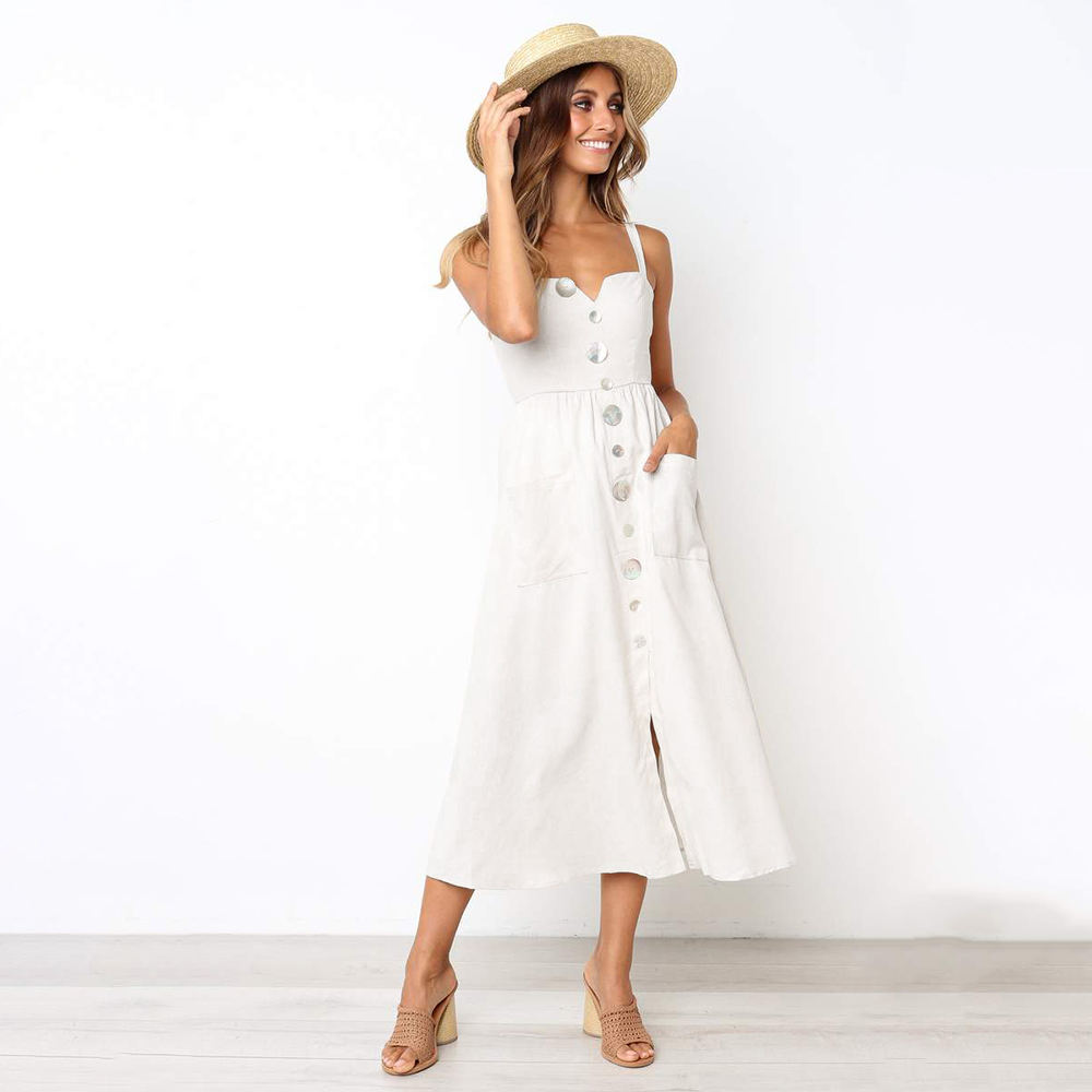 ladies long sexy casual summer dress cotton maxi women white long dress