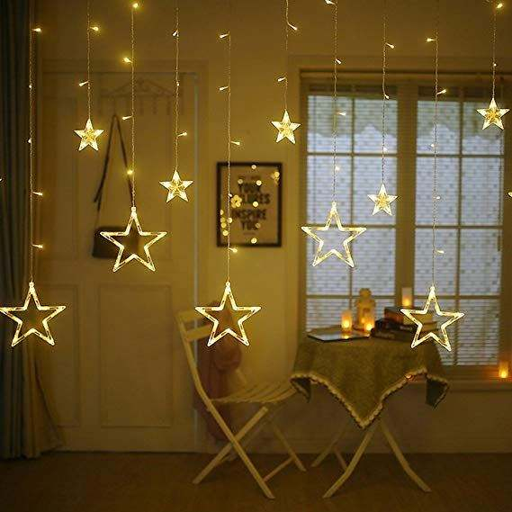 Twinkle Star 138 LED Stars Window Curtain String Lights with 8 Flashing Modes Decoration for Wedding,Party,Home,Patio Lawn