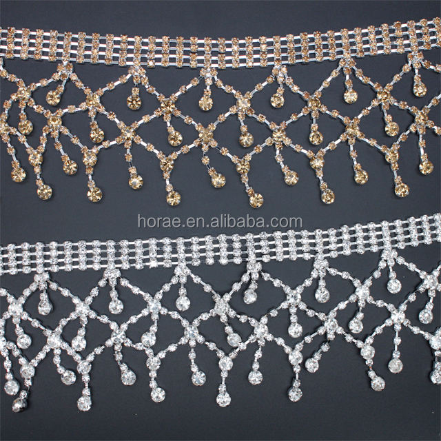 Wholesale crystal rhinestone cup chain rhinestone fringe chain for wedding