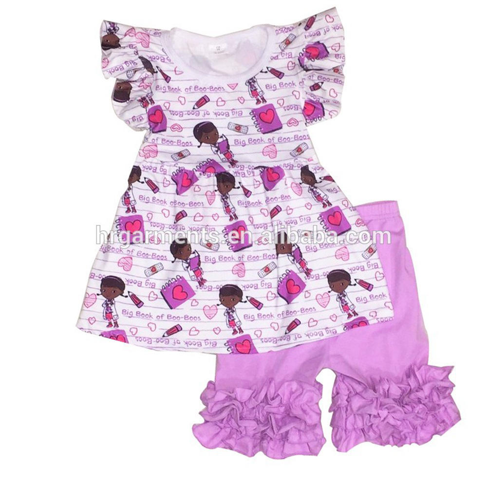 light purple baby girls top pearl tunics set with icing cotton ruffles capris