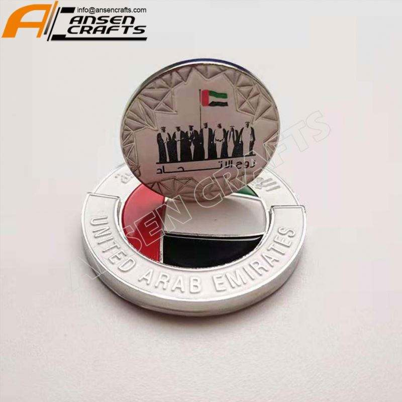 double-side soft enamel UAE 7 sheikhs and three soldiers design lapel pin for UAE national day