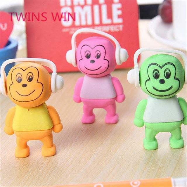 China promotional cute stationery custom made Nice and fashion 3d cartoon rubber animal shaped erasers