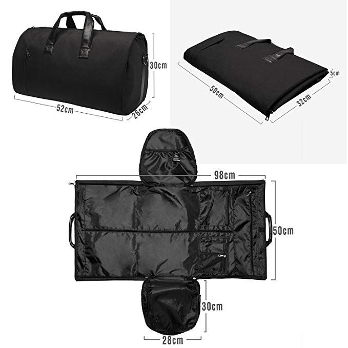 Black men garment bag travel suit duffle bag with shoe compartment
