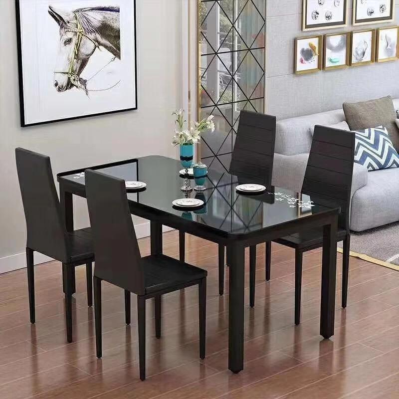 Modern Furniture Glass Kitchen Dining Dinette Top Dining Set 6 Person