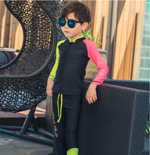 Long sleeves customized private label kids swimwear boys