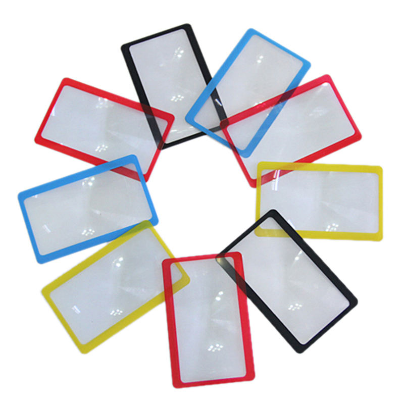 1pc Portable 3X Magnification Magnifier Full Page Reading Aid Lens Magnifier Sheet Pocket Credit Card Size PVC Magnifying Glass