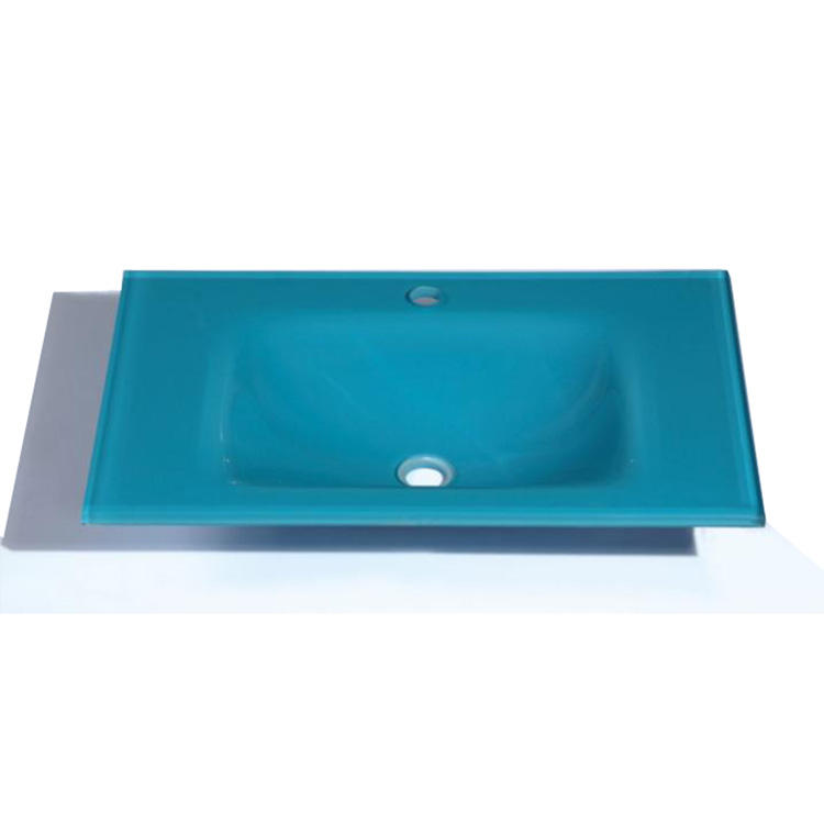 Best products of ali baba Tempered low price blue integrated rectangular glass bowl wash basin