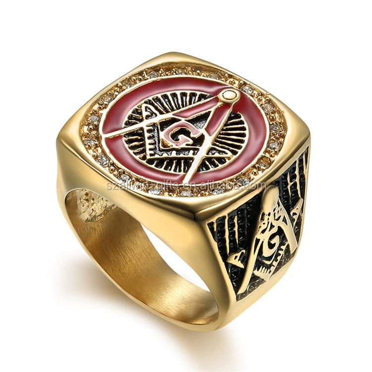 Wholesale cool gold mens stainless steel masonic rings