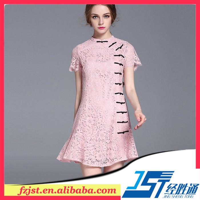 Novo desgin rosa laço vestido cílio laço decoração moda mulher/senhora vestidos de verão
