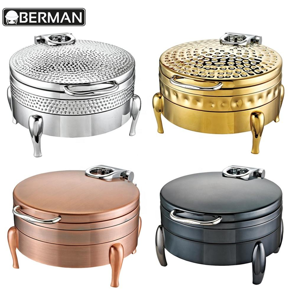 School supplies guangzhou electric buffet chafer food warmer wire stand hammered round chafing dishes for catering
