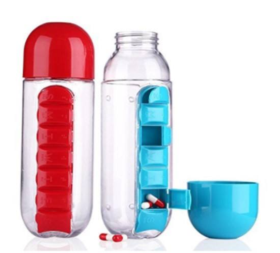 Stocked 7 days pill box organizer sports shaker bottle private labels