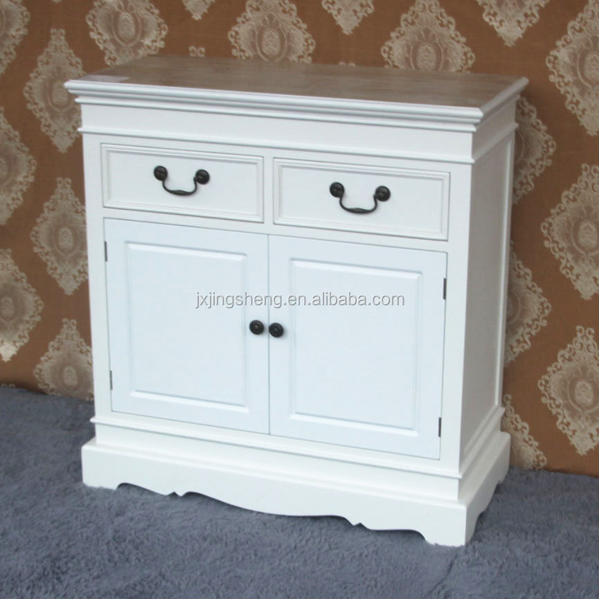 modern Hand Painted 2 drawers white wooden Sideboard Cabinet Buffet 2 Door With Curved Leg