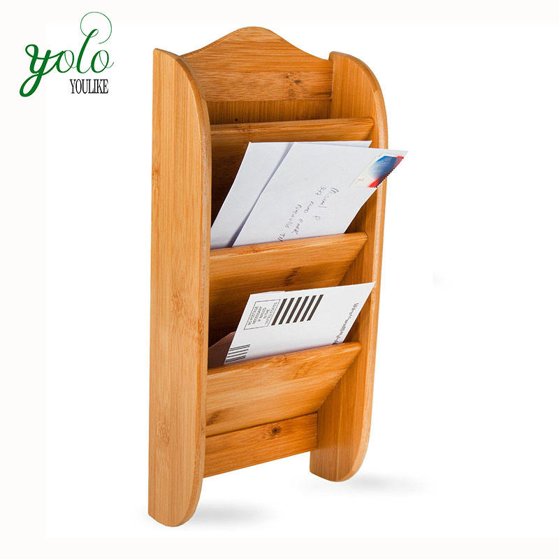 Eco Friendly Home And Office Wall Mounted hanging Storage Organizer Rack Bamboo Mail Letter Holder With 3 Slot