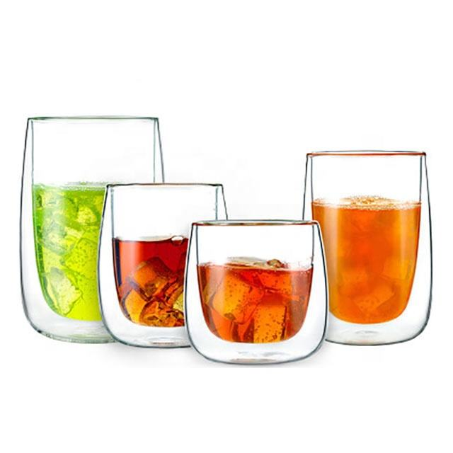 Taiyuan China supplier unbreakable heat resistant transparent double wall glass cups