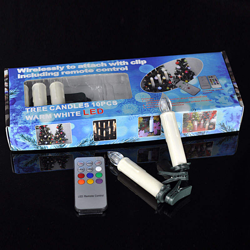 Set 10 Mini AA Baterai Dioperasikan Gading Multicolor LED Lilin Lilin dengan Remote