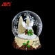 New products cheap mini custom glass owl snow globe wholesale for christmas home decoration