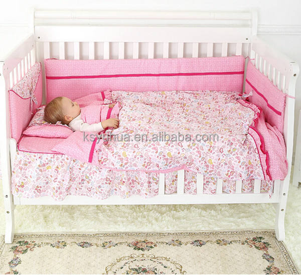 Embroidery Baby Bedding Set baby crib bumper