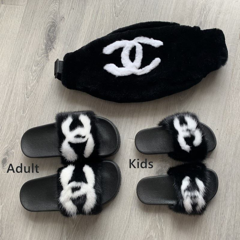 New style stylish and comfortable mink fur slippers slides cc for women and kids