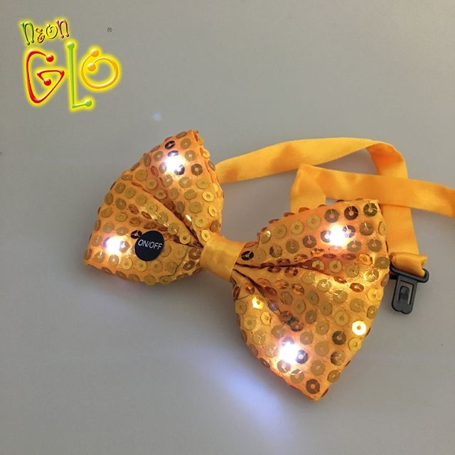 Christmas Party Gift Sequin Flashing Mini LED Bow Tie